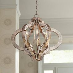 Possini Ornament Aged Silver 6-Light Chandelier