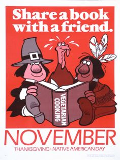 Share a book wit a friend: November. Thanksgiving. Native American Day / Robert Jacobson: design (1991)