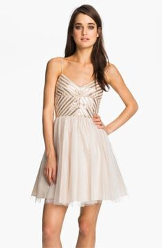 Aidan Mattox Spaghetti Strap Sequin & Tulle Dress $165.0 by nordstrom