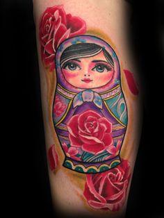 Russian doll tattoo by Toby Harris