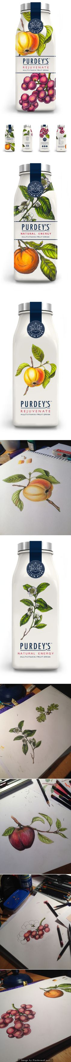 Purdey's (Concept) by Caitlin Walsh using actual fruit on bottle were keen to explore Fruit Packaging, Beverage Packaging, Bottle Packaging, Pretty Packaging, Brand Packaging, Design Packaging, Label Design, Package Design, Graphic Design