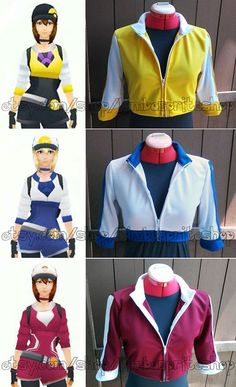 Pokemon GO inspired female trainer jackets, available in all three in-game colors. Jackets feature a 1/2 sleeves with a separating zipper, styled as worn half zipped, but can be zipped comfortably up to collar! Professionally finished and machine washable with cold water only.  Each item is made to order, with only 20 slots available each month so expect delivery 3-5 weeks after payment is processed. Finished jackets will be shipped with tracking in the order payment was recieved. No rush…