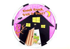 "Talk about Halloween costumes with the ""Knock Knock, Trick Or Treat?"" Halloween wheel craft from Super Simple Learning. #kindergarten #ESL"