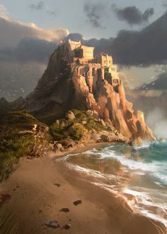 Ocean Cliff Monastery by Garrett Post on ArtStation. Fantasy City, Fantasy Castle, Fantasy Places, Medieval Fantasy, Sci Fi Fantasy, Fantasy World, Landscape Concept, Landscape Artwork, Fantasy Landscape