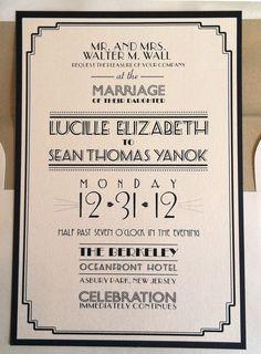 Invitations, Ink, Social Design Studio: New Year's Eve Art Deco Wedding Invitation