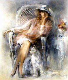 Art Triste, Images D'art, Painting People, Beautiful Paintings, Colorful Paintings, Cat Art, Art Pictures, Framed Pictures, Female Art