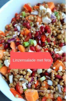 Deze linzensalade met feta en granaatappel is een salade die goed vult. Eet hem als lunch of als bijgerecht bij de barbeque of buffet. - GezondGezin.nu #linzensalade #granaatappel Vegetarian Recipes, Healthy Recipes, Healthy Food, Lunch To Go, Feta, Salads, Bbq, Beans, Dessert