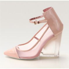 Posh Girl Baby Pink Wedge Heel Shoes found on Polyvore