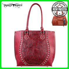 TR23G-8570 Montana West Trinity Ranch Tooled Design Concealed Handgun Handbag-Red - Shoulder bags (*Amazon Partner-Link)
