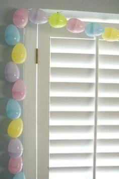 Super glue eggs shut, string though the eggs to make garland! Duh!