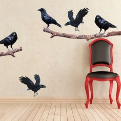 Crow On A Branch Wall Decals   Crow Wall Adhesive Murals   Removable Bird Wall  Murals   Crow Wall Designs