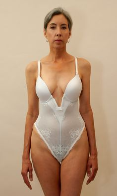 Va Bien Marquise Low Plunge, Thong-back Bodysuit. Also available in black and nude.