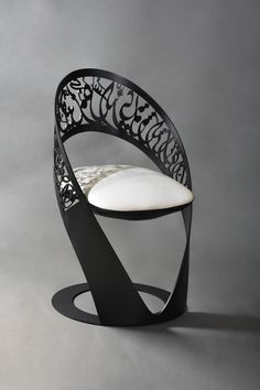 Custom made Arabic calligraphy chair from the monochrome collection.