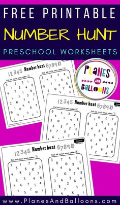 Numbers 1-10 worksheets for preschool free printable - number recognition activities for preschool math. #prek #planesandballoons Learning Numbers Preschool, Teaching Numbers, Teaching The Alphabet, Free Preschool, Preschool Worksheets, Fun Learning, Preschool Activities, Teaching Spanish, Early Learning