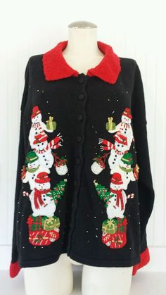 Ugly Christmas Sweater XL Snowman Beaded Applique Cardigan Tacky Party in Clothing, Shoes & Accessories, Costumes, Reenactment, Theater, Costumes   eBay