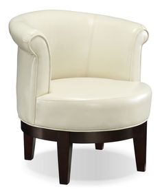 Lino Bonded Leather Swivel Accent Chair Cream Living Room