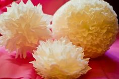 Coffee Filter Pom poms! I made these for Cade's baptism and everyone loved them and were shocked when I told them they were made of coffee filters. And yes I think I am obssessed with pomanders!