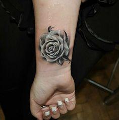 #wristtattoo #rosetattoo #flowertattoo #blackandgreytattoo