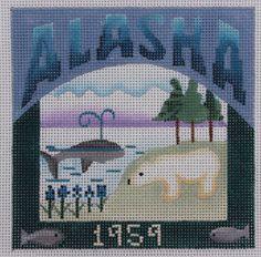 Denise DeRusha Designs Alaska Hand Painted Needlepoint Canvas 18 count