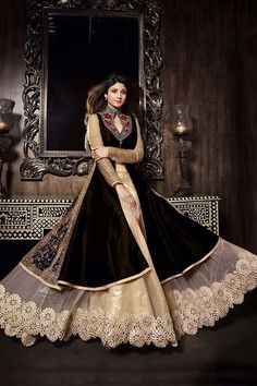 Black Georgette Long Anarkali Salwar Kameez