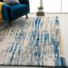 Shop Monae Navy & Yellow Abstract Area Rug - x - Overstock - 21721857 Blue And Yellow Living Room, Navy Living Rooms, Blue Living Room Decor, Rugs In Living Room, Living Room With Color, Teal Rug, Teal Area Rug, Navy Rug, Gray Yellow