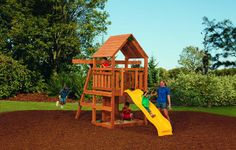 Powerhouse swing set offers theme park fun for your kids right at Toddler Swing Set, Diy Fire Pit, Backyard For Kids, Deck Design, Cool House Designs, The Great Outdoors, Home Interior Design, Kids Playing, Swing Sets
