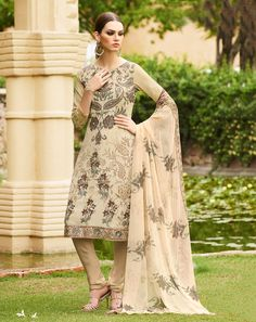 Buy Top: Beige; Bottom: Beige; Dupatta: Beige Beige French Crepe Unstitched Suit for women Online  At Flash Sale   Styletag, India