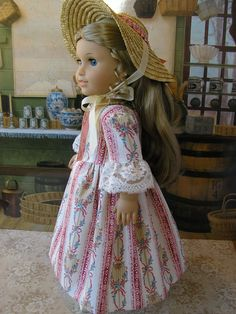 American Girl Colonial dress and special straw bonnet by dolltimes
