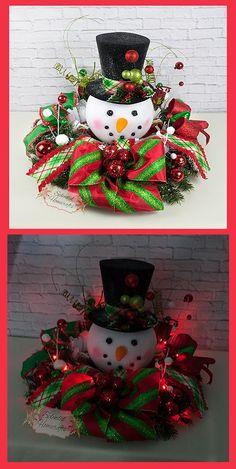Light Up Snowman Centerpiece, Christmas Centerpiece, Top Hat Snowman  Centerpiece, Raz Christmas Centerpiece, Snowman Table Decor By Splendid  Homecrafts On ...