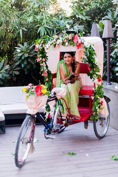 mehendi rickshaw, cycle rickshaw mehendi, photo booth, vehicles, wheels, lime green lehenga , green and gold, neon lehenga