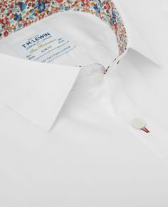 9e5720b8 Premium Fitted White Satin Shirt with Liberty Fabrics Trim – Button Cuff | T.M.Lewin  Liberty