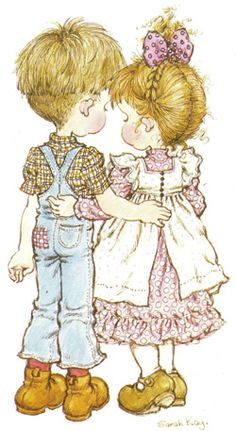 Girl &Boy in love Ilus. Sarah Key, Holly Hobbie, Vintage Pictures, Cute Pictures, Retro Images, Jean Miro, Australian Artists, Digi Stamps, Big Eyes