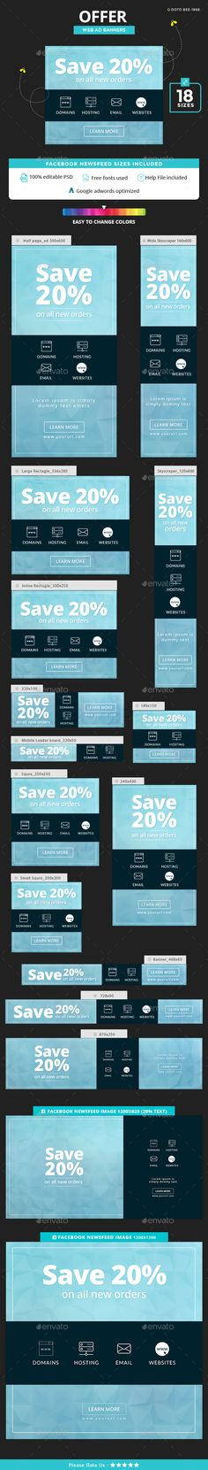 Offer Banners — Photoshop PSD #retargeting #social media • Available here → https://graphicriver.net/item/offer-banners/19257837?ref=pxcr