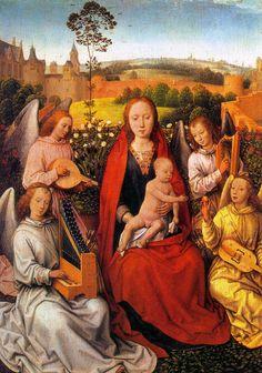 """ÓRGANO DE MANO   Virgen y el Niño con ángeles músicos"""" (1780, Alte Pinakothek, Munich). Se trata de la hoja izquierda de un díptico que en la hoja derecha tiene un retrato del donante con san Jorge. FIDDLE, HARP, PORTATIVE ORGAN, LUTE.  Pintura gótico flamenca Hans Menling"""
