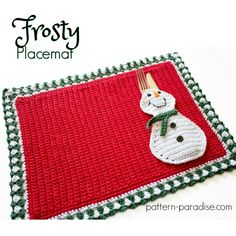 12 Weeks of Christmas #CAL 2017, snowman frosty placemat on Pattern-Paradise.com #12WeeksChristmasCAL #patternparadisecrochet #crochet #snowman #placemat