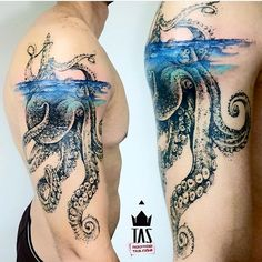 Underwater Tattoo Kraken - Tattoo INK/ dots and lines/ creative works unique - Kraken Tattoo, Squid Tattoo, Sea Tattoo, Tattoo Ink, Tattoos Mandala, Ocean Tattoos, Body Art Tattoos, Nautical Tattoos, Ocean Sleeve Tattoos