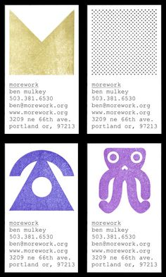 morework: hand made business cards (Monoscope)