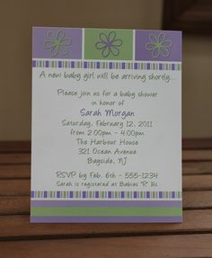 Baby Girl Purple and Green Flower Shower by MemorableOccasions, $35.00