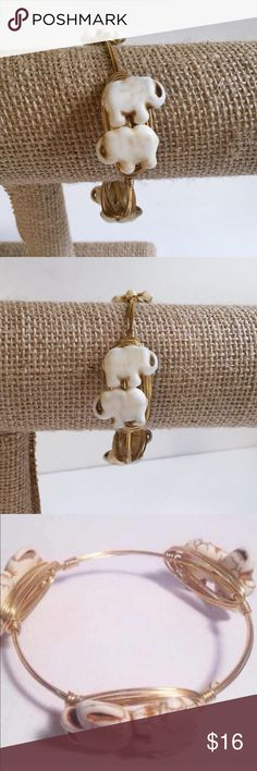 """Elephant Bangle BRAND NEW! Handmade with howlite elephant stones. (Because they are natural stones, slight color and size variation will occur.)  Gold colored wire. Tarnish resistant.  Diameter is 2.75 inches across.   Price firm unless bundled. Please use """"Add to Bundle"""" feature for bundle discount. Sydney Elle Jewelry Bracelets"""