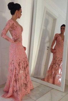 Vestido Longo 001 Decote V Slim Renda Rosa