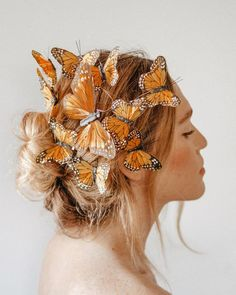 Channel your inner goddess with ethereal accessories from wildandfreejewelry. The butterfly hair pieces add an element of whimsy that would be sensational for a photo shoot or a brides bouffant. Photoshoot Inspiration, Hair Inspiration, Butterfly Fairy, Down Hairstyles, Fairy Hairstyles, Updo Hairstyle, Prom Hairstyles, Braided Hairstyles, Hair Photography