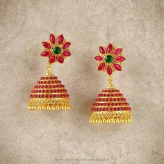 Gold Plated Kemp Jhumka Designs, Gold Plated Temple Jhumka Designs, Gold Plated Ruby Jhumkas.