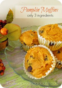 easy three ingredient cake mix pumpkin muffins.