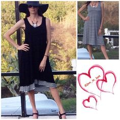 2 LKs Reversible Dress This is a great anytime dress.  It is reversible so you can go with the black look or the black and white stripe look!  Material content is rayon spandex blend. No Trades ✅ Offers Considered*✅ *Please use the blue 'offer' button to submit an offer. ellumiNation Dresses