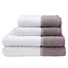 White 'Kingsley Colour Header' cotton towels - Plain towels - Towels - Home & furniture -