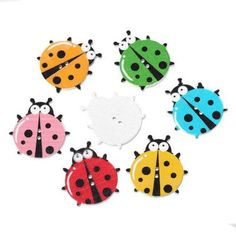 200PCs Wooden Buttons Beetle Shaped Mixed Color 2-hole Sewing Scrapbook DIY
