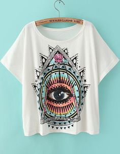 Shop White Short Sleeve Eye Print Loose T-Shirt online. Sheinside offers White Short Sleeve Eye Print Loose T-Shirt & more to fit your fashionable needs. Free Shipping Worldwide!