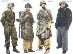 World War II Uniforms - Germany - 1943 July, Kursk, Sergeant, Grossdeutschland Division Germany - 1943 June, Italy, Sergeant-Major, 1st Fallschirmjäger Division Germany - 1943 Mar., Mareth Line, Corporal, Hermann Göring Panzer Division Germany - 1944 Aug.,Kiel, Petty Officer, Kriegsmarine