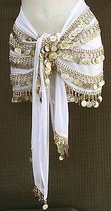 White Belly Dance Hip Scarf 5 Line Gold Coins with Beads Belly Dancer Costumes, Belly Dancers, Dance Costumes, Belly Dancer Halloween Costume, Belly Dance Outfit, Tribal Belly Dance, Dance Oriental, Ballroom Dress, Dance Outfits