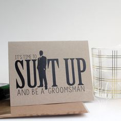 Suit up and be my groomsman - Will you be my groomsman - be my groomsman - groomsman card - groomsman proposal - groomsman invitiation by AlvaLumos on Etsy Groomsmen Invitation, Groomsmen Proposal, Bridesmaid Proposal, Wedding Invitations, Be My Groomsman, Groomsman Gifts, Wedding Gifts, Wedding Day, Dream Wedding